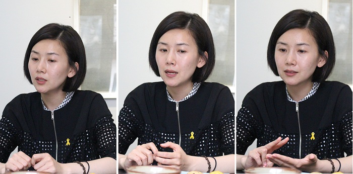 김현정 작가의 첫 전시회 '묘사와 연기'가 아트링크 갤러리에서 열리고 있다. (사진: 위택환)