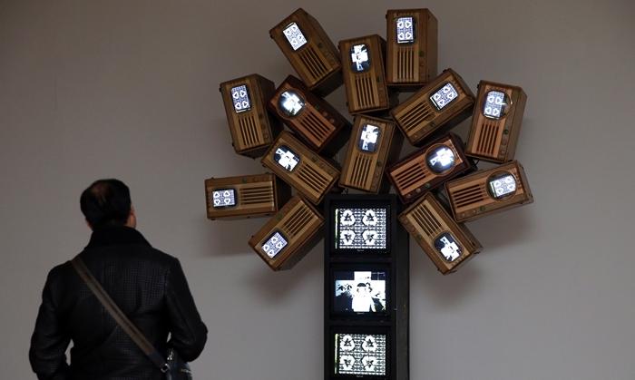 지난 8일 중국 베이징 진르미술관에서 개막된 '한국예술가 3인전'에서 한 관객이 백남준 작가의 '광합성Ⅱ(光合成Ⅱ, PhotosynthesisⅡ)를 감상하고 있다.